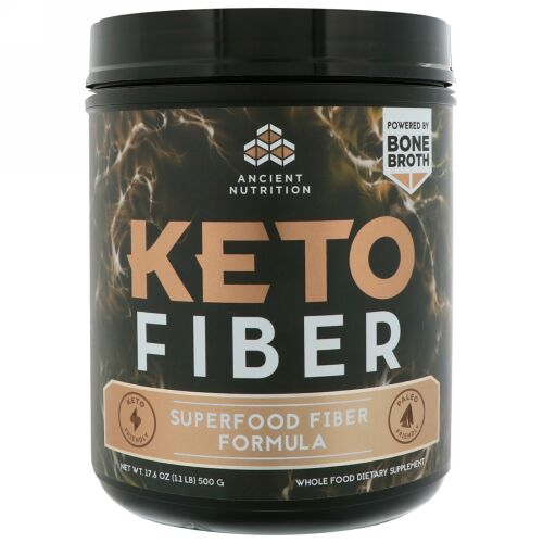 Dr. Axe / Ancient Nutrition, ケトファイバー、Keto Fiber, Superfood Fiber Formula, 17.6 oz (500 g) (Discontinued Item)