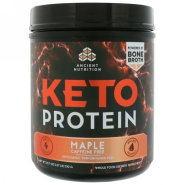 Dr. Axe / Ancient Nutrition, Keto Protein, Ketogenic Performance Fuel, Caffeine Free, Maple, 1.17 lb (530 g) (Discontinued Item)