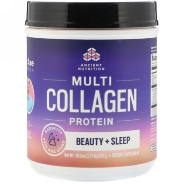 Dr. Axe / Ancient Nutrition, Multi Collagen Protein, Beauty + Sleep, Calming Natural Lavender, 1.17 lbs (535 g) (Discontinued Item)