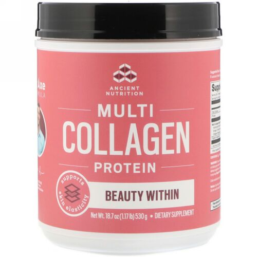 Dr. Axe / Ancient Nutrition, Multi Collagen Protein Powder, Beauty Within, Refreshing Natural Watermelon Flavor, 18.7 oz (530 g) (Discontinued Item)