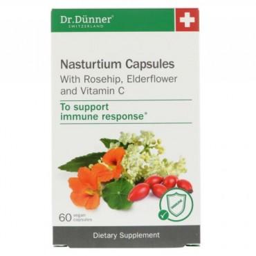 Dr. Dunner, USA, ナストゥルティウム カプセル、ローズヒップ・エルダーフラワー・ビタミンC入り、60ビーガンカプセル (Discontinued Item)