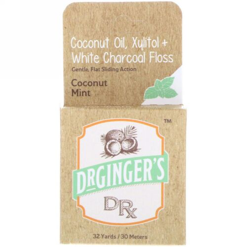 Dr. Ginger's, Coconut Oil, Xylitol + White Charcoal Floss, Coconut Mint, 32 yds (30 m) (Discontinued Item)