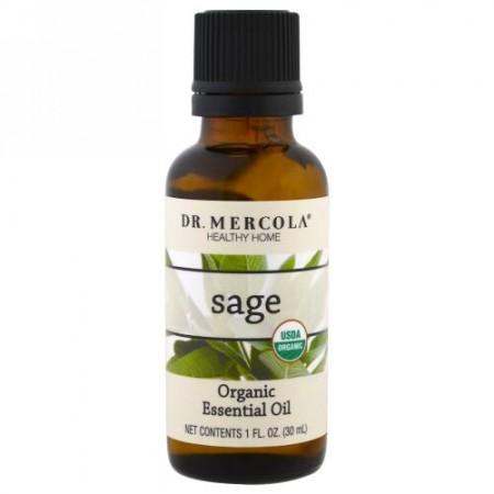 Dr. Mercola, オーガニックエッセンシャルオイル、セージ、1オンス (30 ml) (Discontinued Item)