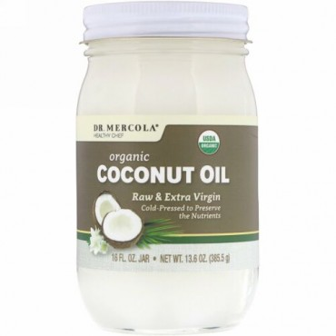Dr. Mercola, Organic Raw & Extra Virgin Coconut Oil, 13.6 oz (385.5 g)