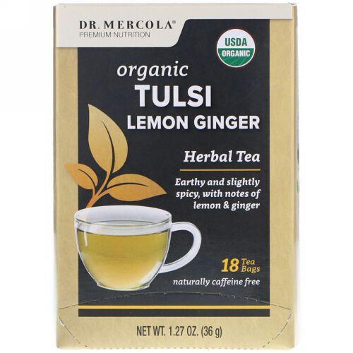 Dr. Mercola, オーガニック トゥルシー レモン ジンジャー、ハーブ茶、ティーバッグ18袋、1.27 oz (36 g) (Discontinued Item)
