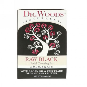 Dr. Woods, ロウブラックソープ、フェイシャルクレンジングバー、5.25オンス (149 g)