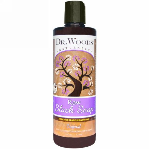 Dr. Woods, Raw Black Soap with Fair Trade Shea Butter、オリジナル、16液量オンス (473 ml)