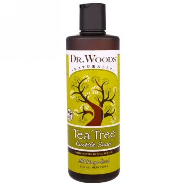 Dr. Woods, Tea Tree Castile Soap with Fair Trade Shea Butter、16 液量オンス (473 ml) (Discontinued Item)