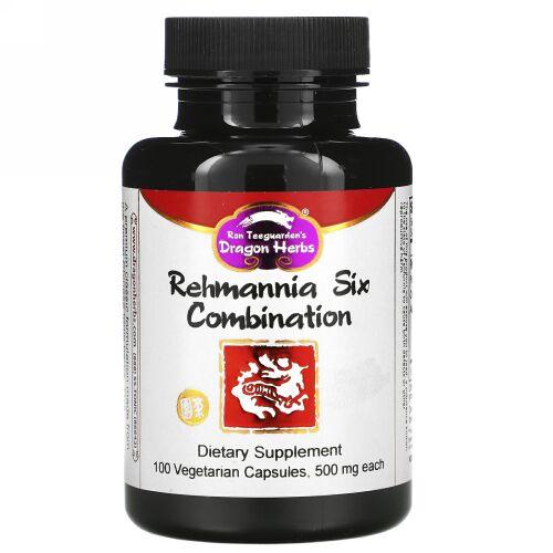 Dragon Herbs, レーマニアシックスコンビネーション、 500 mg、 100植物性カプセル