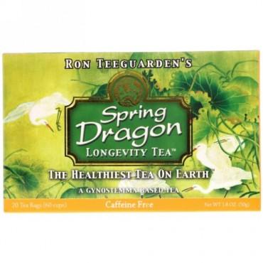 Dragon Herbs, スプリングドラゴン・ロンジェビティー・ティー, カフェインフリー, ティーバッグ 20袋, 1.8 オンス (50 g)