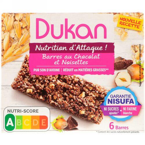 Dukan Diet, Oat Bran Chocolate Hazelnut Bars, 6 Bars, (25 g) Each (Discontinued Item)