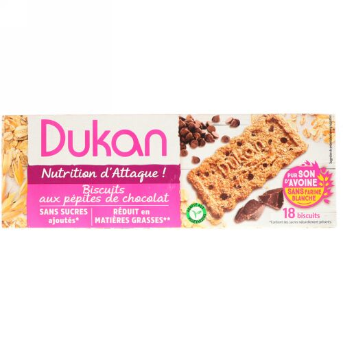 Dukan Diet, オートブランクッキー・チョコレートチップ, 3枚入り6包, 各 (37,5 g) (Discontinued Item)