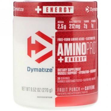Dymatize Nutrition, アミノプロとエネルギー、フルーツパンチとカフェイン、9.52 oz (270 g) (Discontinued Item)