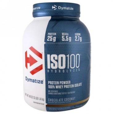 Dymatize Nutrition, アイソ100 加水分解,100% 分離ホエイタンパク質, チョコレートココナッツ, 48 oz (1.4 kg) (Discontinued Item)