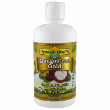 Dynamic Health  Laboratories, 認定有機栽培マンゴスチーンゴールド、100%ジュース、32fl oz(946ml)