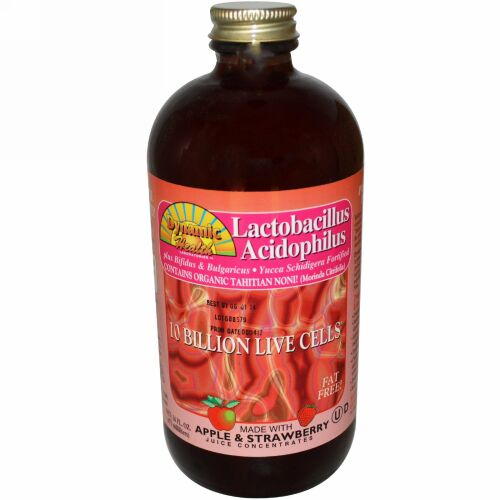 Dynamic Health  Laboratories, Lactobacillus Acidophilus with Apple & Strawberry Juice Concentrate, 16 fl oz (473 ml) (Discontinued Item)