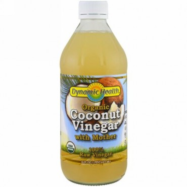 Dynamic Health  Laboratories, Organic Coconut Vinegar with Mother, 100% Raw Vinegar, 16 fl oz (473 ml)