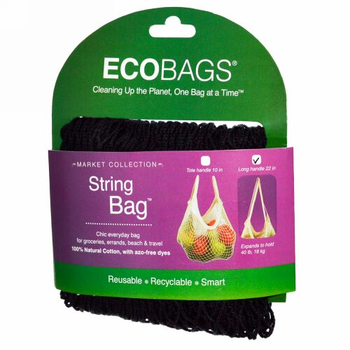 ECOBAGS, マーケットコレクション、ストリングバッグ、ロングハンドル22インチ、ブラック、1袋
