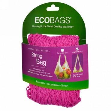 ECOBAGS, マーケットコレクション、ストリングバッグ、ロングハンドル22インチ、フクシャ、1袋 (Discontinued Item)