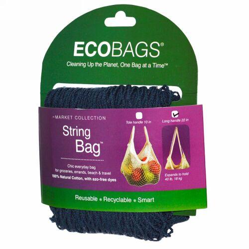 ECOBAGS, マーケットコレクション、ストリングバッグ、ロングハンドル22インチ、ストームブルー、1袋