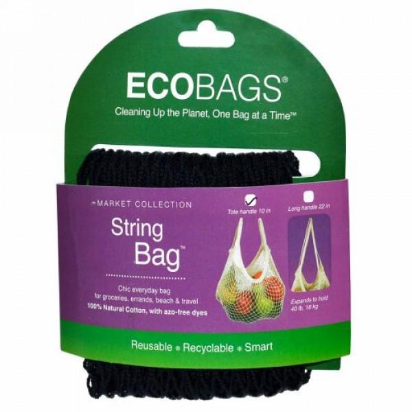 ECOBAGS, マーケットコレクション、ストリングバッグ、 約25cmの持ち手、ブラック、 バッグ1個