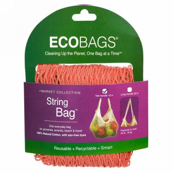 ECOBAGS, マーケットコレクション、ストリングバッグ、 約25cmの持ち手、コーラルローズ、 バッグ1個