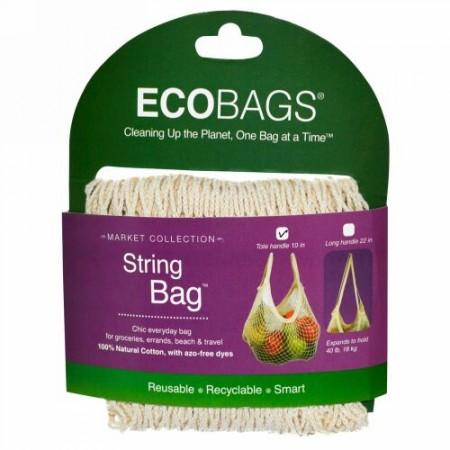 ECOBAGS, マーケットコレクション, ストリングバッグ®, トートハンドル 10 インチ, ナチュラル, 1 個