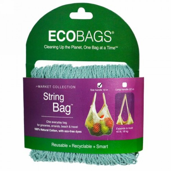 ECOBAGS, マーケットコレクション、ストリングバッグ、 約25cmの持ち手、ウォッシュドブルー、 バッグ1個