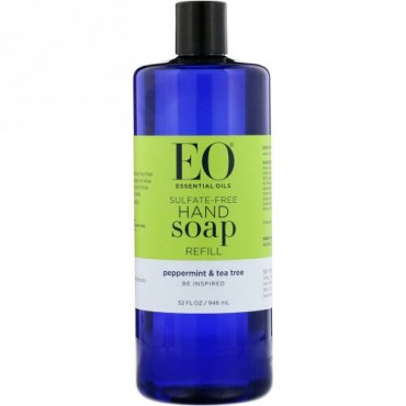 EO Products, Hand Soap Refill, Peppermint & Tea Tree, Sulfate-Free, 32 fl oz (946 ml) (Discontinued Item)