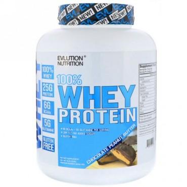 EVLution Nutrition, 100%ホエイタンパク質、チョコレートピーナッツバター、4 lb (1814 g) (Discontinued Item)
