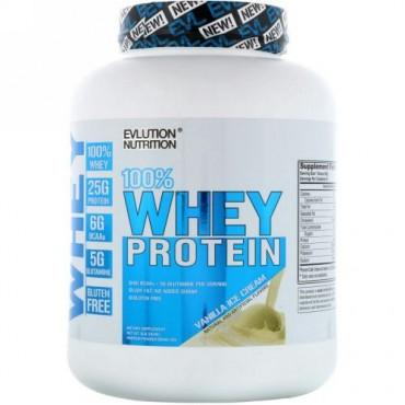 EVLution Nutrition, 100% ホエイタンパク質、 バニラアイスクリーム、4 lb (1814 g) (Discontinued Item)