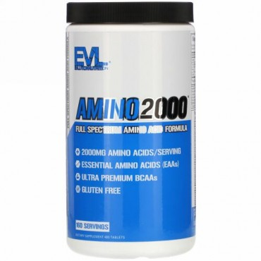 EVLution Nutrition, AMINO2000(アミノ2000)、フルスペクトルアミノ酸フォーミュラ、タブレット480粒