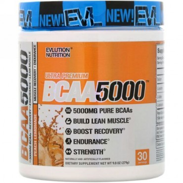 EVLution Nutrition, BCAA5000、ピーチレモネード、9.8オンス (279 g) (Discontinued Item)