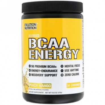 EVLution Nutrition, BCAAエナジー、ピーチマンゴー、9.52オンス(270g) (Discontinued Item)