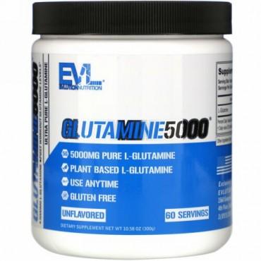 EVLution Nutrition, Glutamine5000(グルタミン5000)、無香料、5,000mg、300g(10.58オンス)