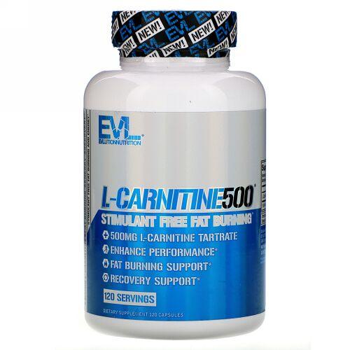 EVLution Nutrition, L-カルニチン500、カプセル120粒