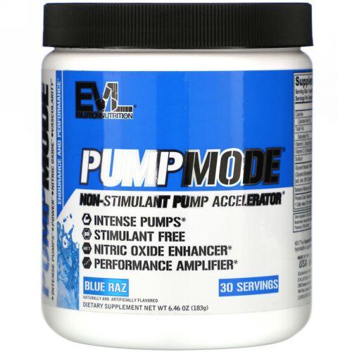 EVLution Nutrition, PumpMode(パンプモード)、非刺激性パンプアクセラレータ、ブルーラズ風味、183g(6.46オンス)