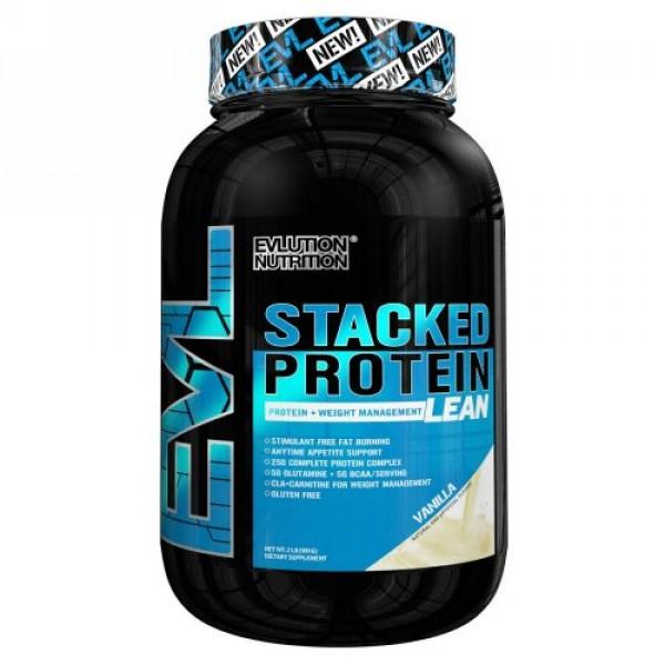 EVLution Nutrition, スタックドプロティンリーン、プロティン + 体重管理、バニラ、2ポンド (909 g) (Discontinued Item)