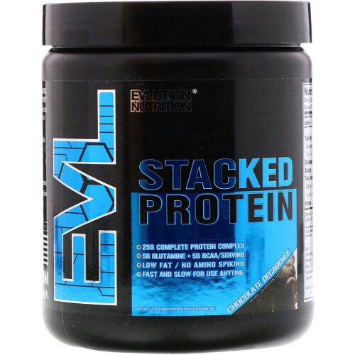 EVLution Nutrition, Stacked Protein Powder Drink Mix, Chocolate Decadence, 6.5 oz (185 g) (Discontinued Item)