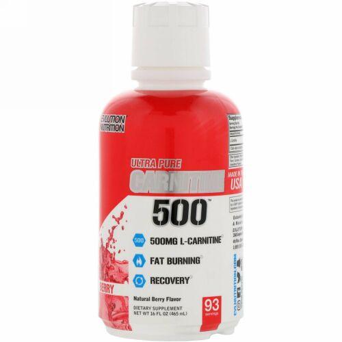 EVLution Nutrition, Ultra Pure CARNITINE500, Berry, 16 fl oz (465 ml)