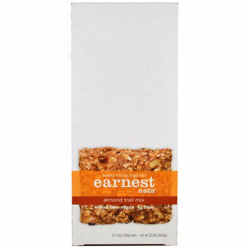 Earnest Eats, Baked Whole Food Bar, Almond Trail Mix, 12 Bars, 1.9 oz (54 g) Each (Discontinued Item)