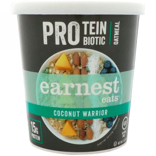 Earnest Eats, Protein Probiotic Oatmeal, Coconut Warrior, 2.5 oz (71 g) (Discontinued Item)