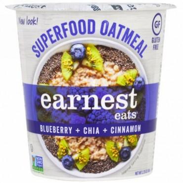 Earnest Eats, スーパーフードオートミールカップ, ブルーベリー + チーア + シナモン, スーパーフードブルーベリーチーア, 2.35 oz (67 g)