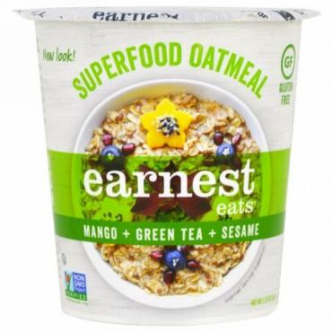 Earnest Eats, スーパーフードオートミールカップ, マンゴー + 緑茶 +ゴマ, アジアブレンド, 2.35 oz (67 g) (Discontinued Item)