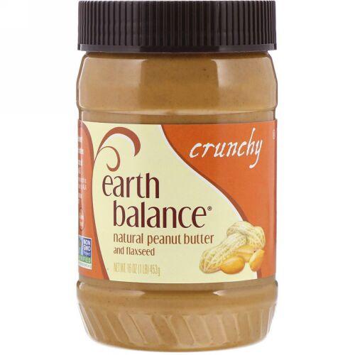 Earth Balance, 天然のピーナッツバター&亜麻仁, パリパリした食感, 16オンス(453 g) (Discontinued Item)