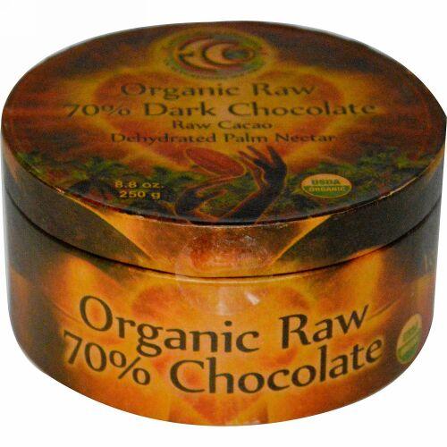 Earth Circle Organics, オーガニック 生 70% ダークチョコレート, 8.8 オンス (250 g) (Discontinued Item)