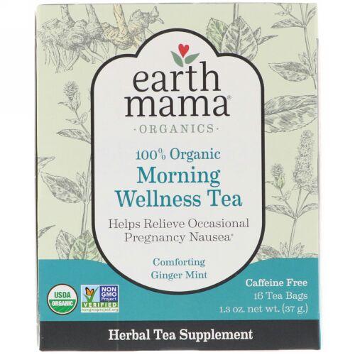 Earth Mama, 100%オーガニックモーニングウェルネスティー、癒しのジンジャーミント、ティーバッグ16個、1.3 oz (37 g) (Discontinued Item)