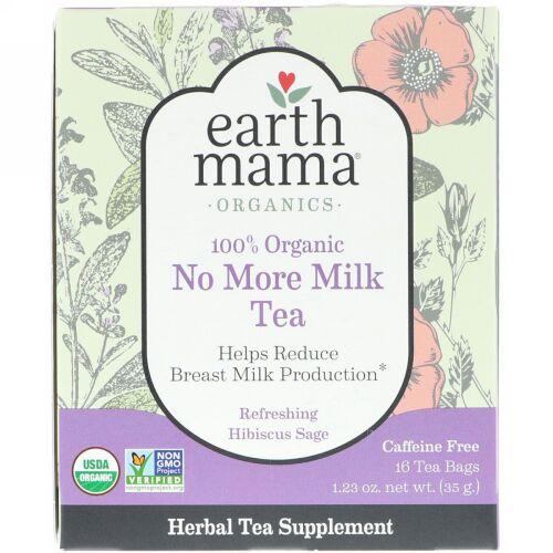 Earth Mama, 100%オーガニックノーモアミルクティー、リフレッシングハイビスカスセージ、16ティーバッグ、1.23オンス (35 g) (Discontinued Item)