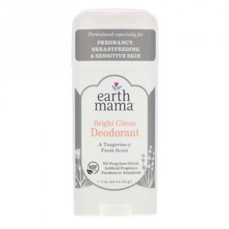 Earth Mama, デオドラント、ブライト シトラス、3 oz (85 g) (Discontinued Item)
