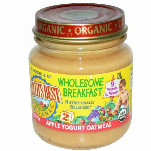 Earth's Best, オーガニック, 健康的な朝食, アップルヨーグルト オートミール, ステージ2, 生後6か月以上, 4.5オンス (127 g) (Discontinued Item)